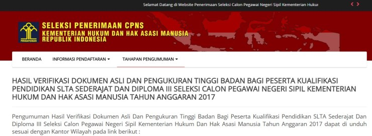 Daftar Nama Lulus Verifikasi Dokumen Asli SLTA CPNS Kemenkumham 2017