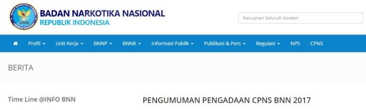 Pengumuman Hasil Seleksi Administrasi CPNS BNN 2018 Peserta Lulus SSCN