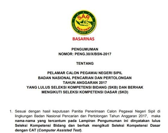Hasil SKD Basarnas CPNS Badan Nasional Pencarian dan Pertolongan 2017