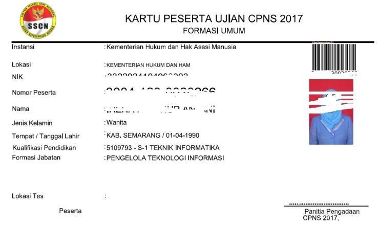 Panduan mencetak Kartu Peserta Ujian CPNS 2017 Kementerian Badan Lembaga