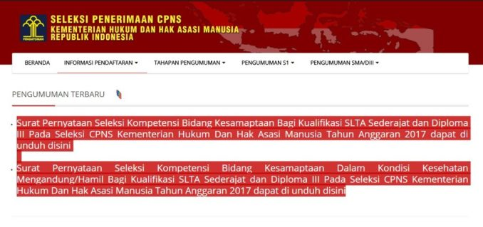 Download contoh surat Pernyataan Seleksi Kesamaptaan CPNS Kemenkumham 2017