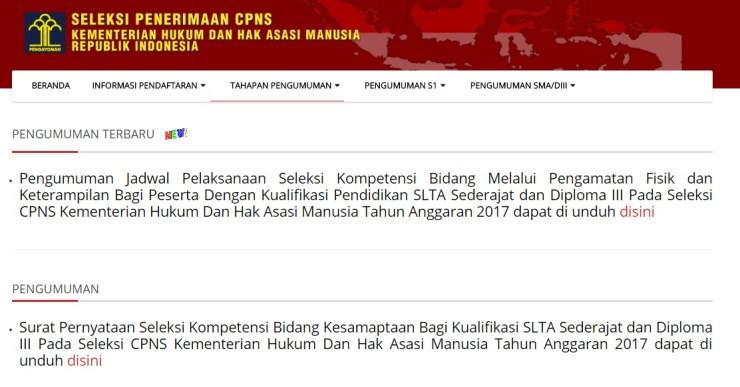 Hasil Akhir Kelulusan Seleksi CPNS Hakim Kemenkumham tahun 2017