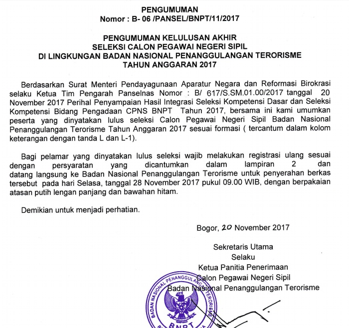 Hasil kelulusan Akhir Seleksi CPNS BPNT Lolos SKB 2017