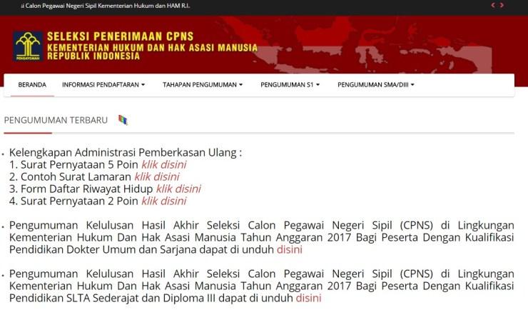Tahap Pemberkasan Peserta Lulus seleksi akhir CPNS Kemenkumham 2017