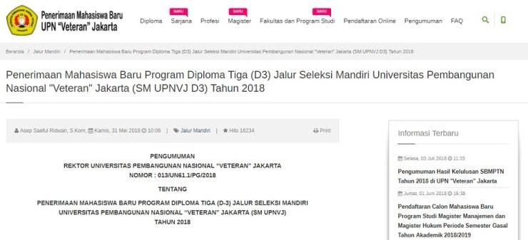 Pengumuman Hasil Ujian Tertulis Seleksi Mandiri Program SARJANA UPNVJ Jakarta Tahun 2018/2019
