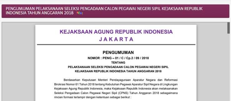 Pengumuman Hasil Seleksi Administrasi CPNS KEJAGUNG 2018 Peserta Lulus SSCN
