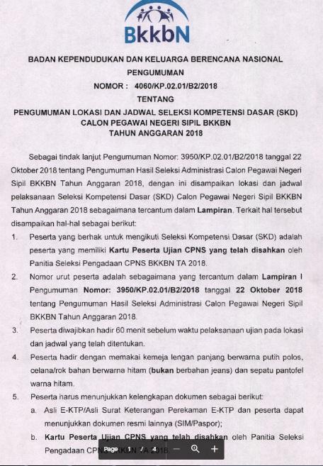 Jadwal dan Lokasi Tes SKD CPNS BKKBN 2018 Peserta Lulus Seleksi Administrasi SSCN.