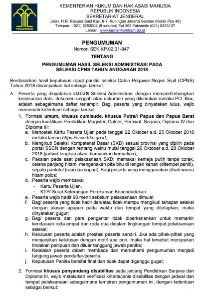 Hasil Seleksi Administrasi CPNS 2018 Kemenkumham Lulus Verifikasi Dokumen SSCN.