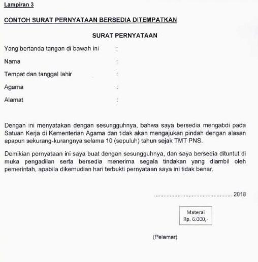 Contoh Surat Pernyataan Kesanggupan Ditempatkan