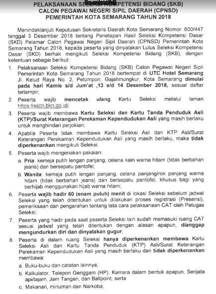 Jadwal dan Lokasi Pelaksanaan Tes SKB CPNS KOTA SEMARANG 2018 Seleksi Kompetensi Bidang.