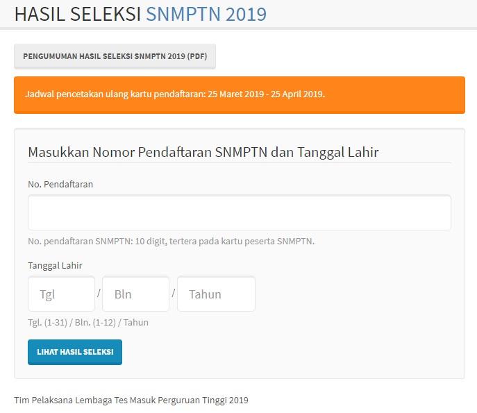 Pengumuman Hasil Seleksi SNMPTN UNJ 2019 Seleksi Masuk Universitas Negeri Jakarta.