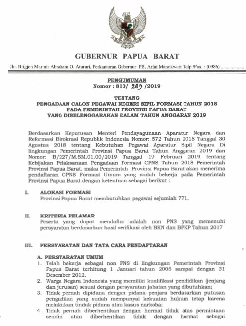 Pendaftaran CPNS Papua 2019   Jadwal Daftar CPNS Provinsi Papua