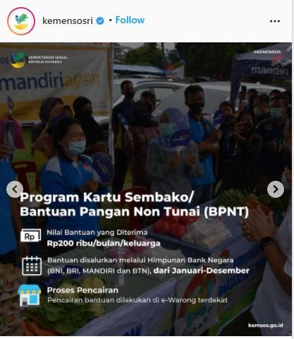 Bansos Program Sembako atau Bantuan Pangan Non Tunai BPNT 2021