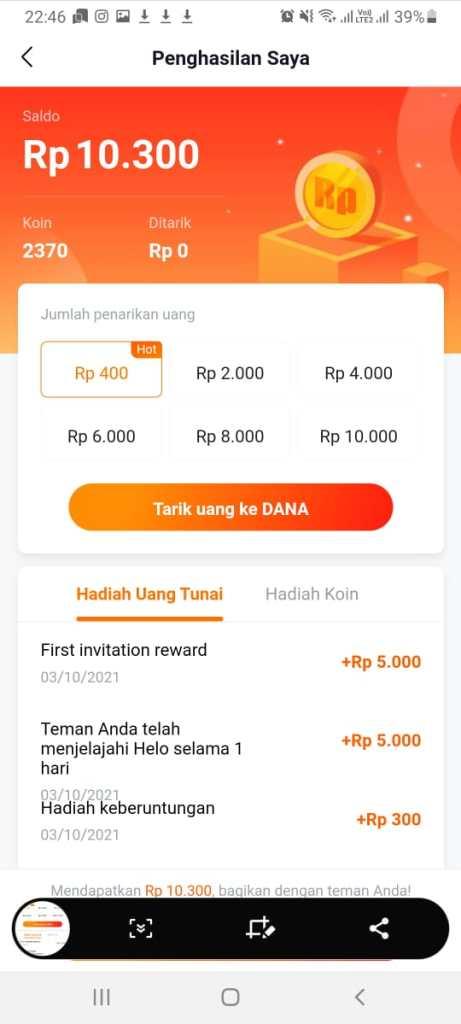 Tarik uang di Aplikasi Helo