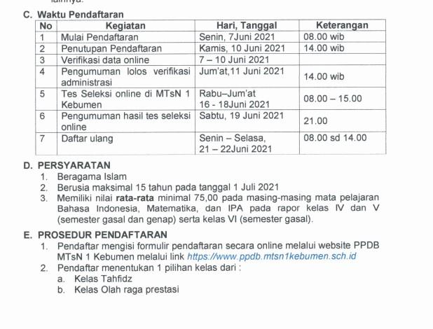 Pengumuman Hasil Seleksi PPDB MTsN Kebumen 2021