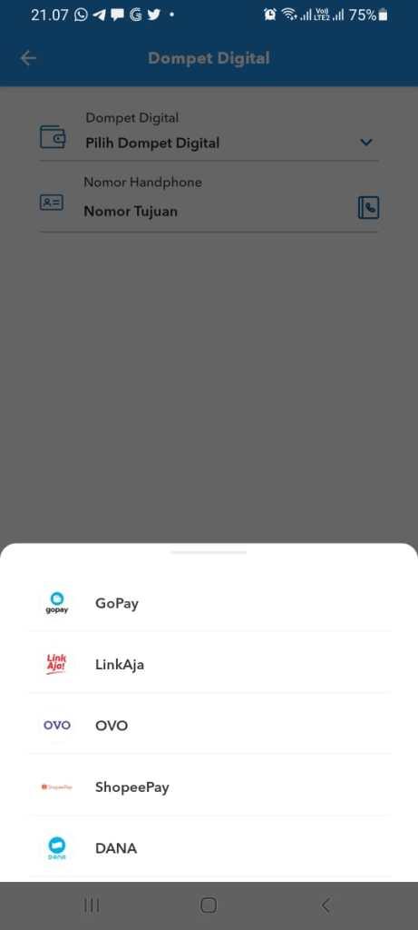 cara top up DANA melalui menu Dompet Digital Mbanking BRI.