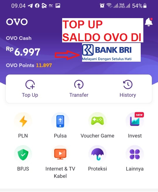 CARA TOP UP OVO MELALUI ATM DAN MBANKING BANK BRI