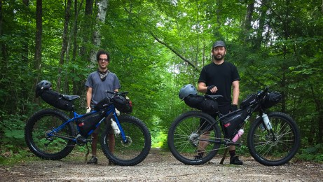 Ready to head out from the Oak Ridge Trailhead for a weekend of bikepacking in the Moosalamoo National Recreation Area, Vermont. Tools of choice: Jonathan on his Surly Pugsley and me on my Surly Krampus Ops, both outfitted with Revelate Designs frame bags, sweetrolls, viscacha seat bags, and gas cans.