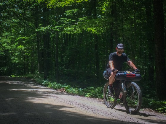 Catching a patch of sun through the canopied forest that characterizes Goshen-Ripton Road