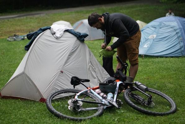 Seth sets up camp.