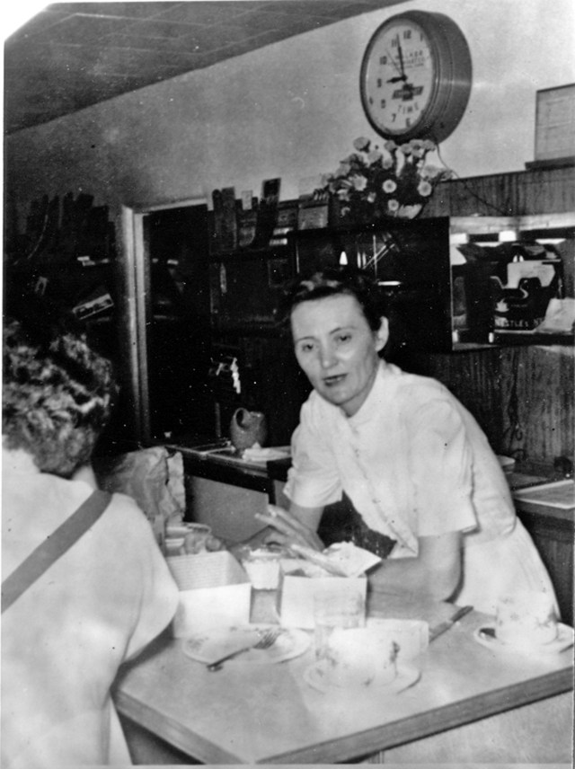 Aunt Rubye at the counter in Bozo's