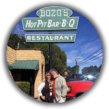 Mary Lynne Williams with Kenny Faulk at Bozos Bar-B-Q in 2018