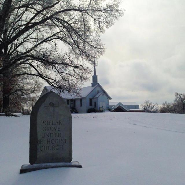 Snowy Day at Poplar Grove Church in Drummonds Tennessee