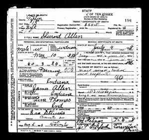 Allen, Sherrod - Obituary & Death Certificate