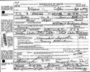 Alston, Elnora Death Certificate