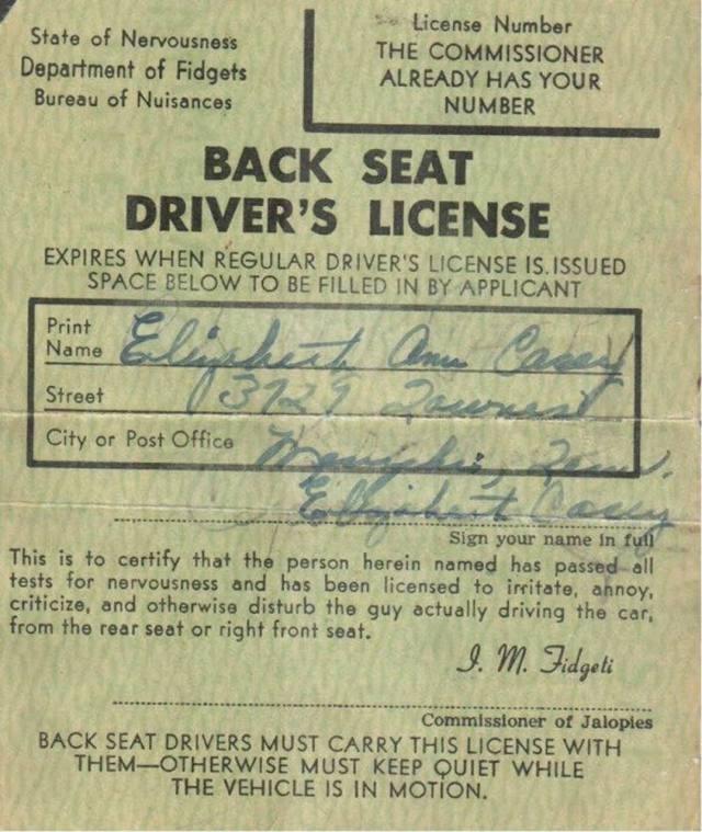 Elizabeth Ann Casey - Back Seat Driver's License