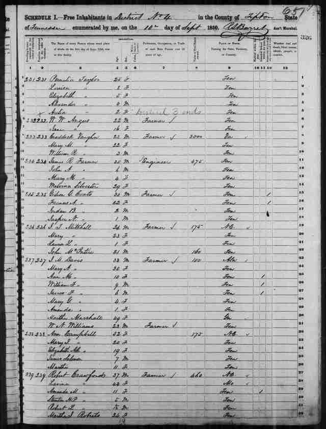 Image 1 1850 Census District 4 Tipton County Tennessee