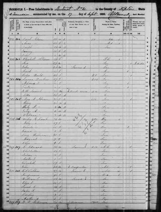 Image 10 1850 Census District 4 Tipton County Tennessee