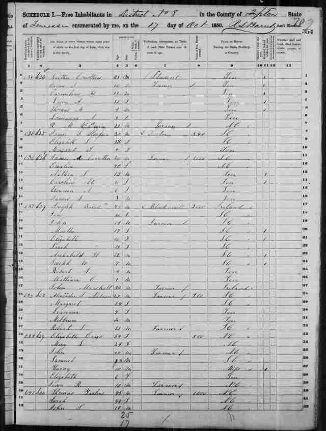 Image 17 1850 Census District 8 Tipton County Tennessee