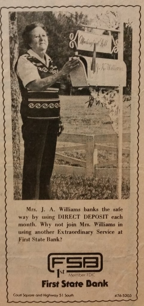 Lexie Lois Faulk Williams Newspaper ad for Bank