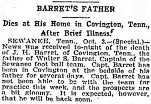 Barret, J. H. of Covington - Obituary