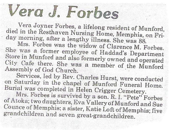 Vera Joyner Forbes Obituary