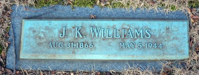 J K Williams 1866-1944 Headstone