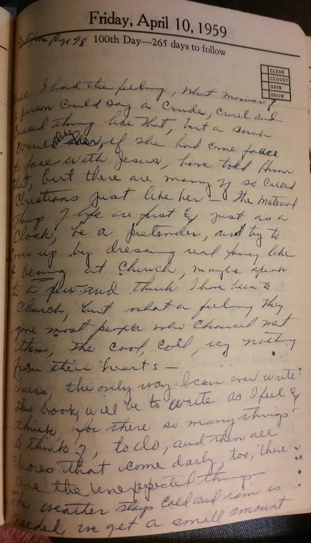 10 Apr 1959 - Mary F Nichols Diary