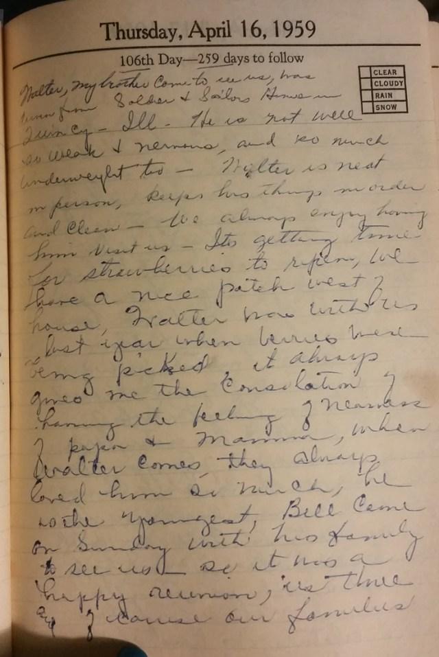 16 Apr 1959 - Mary F Nichols Diary