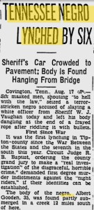 Tennessee Negro Lynched by Six News Clipping