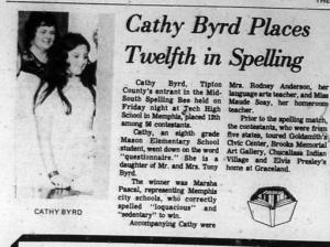Cathy Byrd Places Twelfth in Spelling