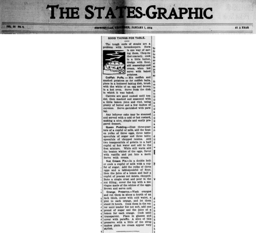 The States-Graphic 7 Jan 1916 Good Things for the Table