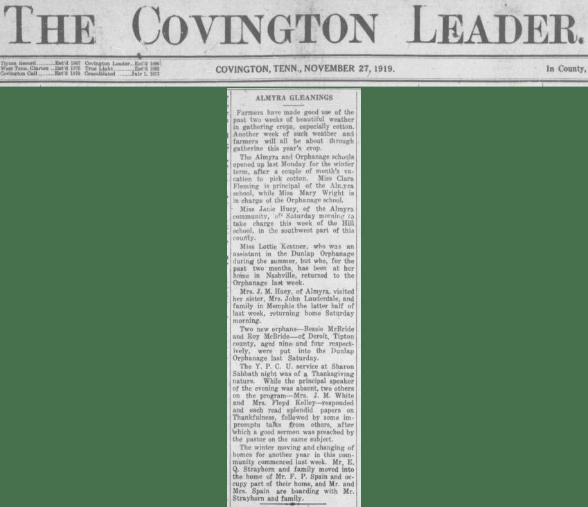 Almyra Gleanings - 27 Nov 1919