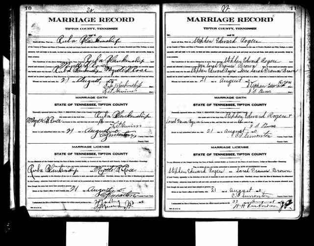 Marriage Record Ruba and Myrtle