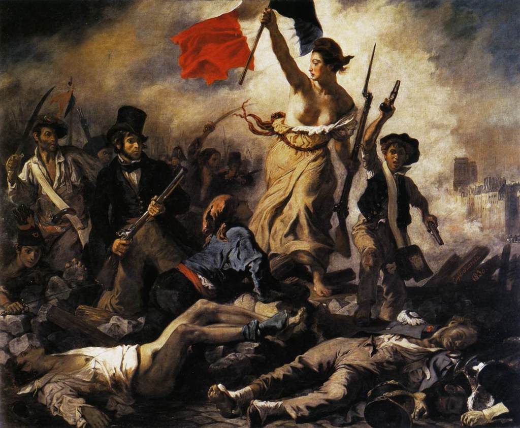 Liberty Leading the People by Eugène Delacroix, displayed in the Louvre.