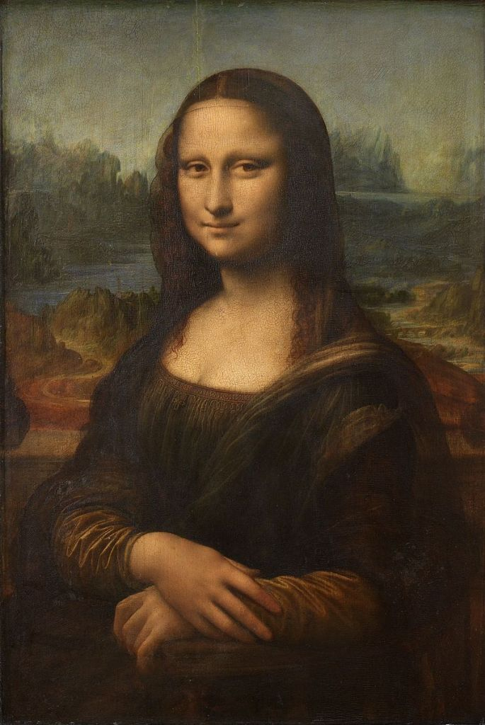 The Mona Lisa by Leonardo da Vinci, displayed in the Louvre.