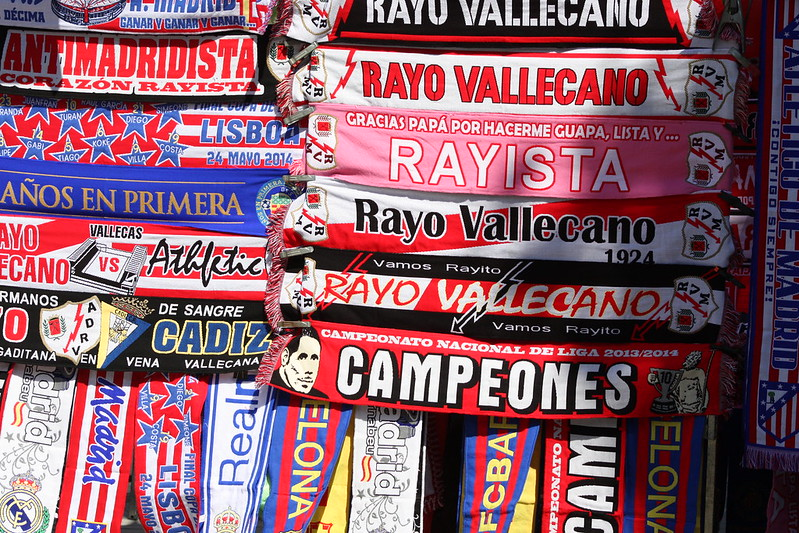 A stall selling scarves of football teams in Madrid