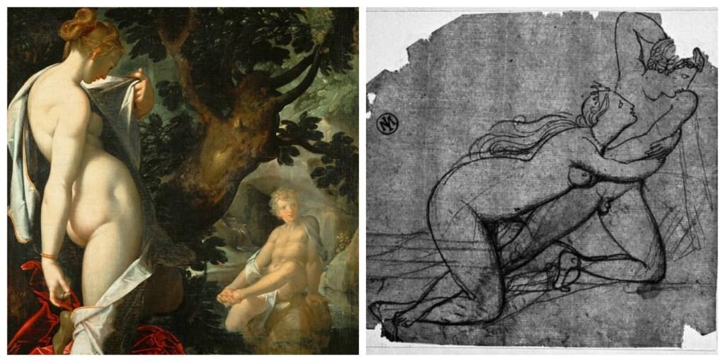 Salmacis's rape of Hermaphroditus depicted in Renaissance paintings