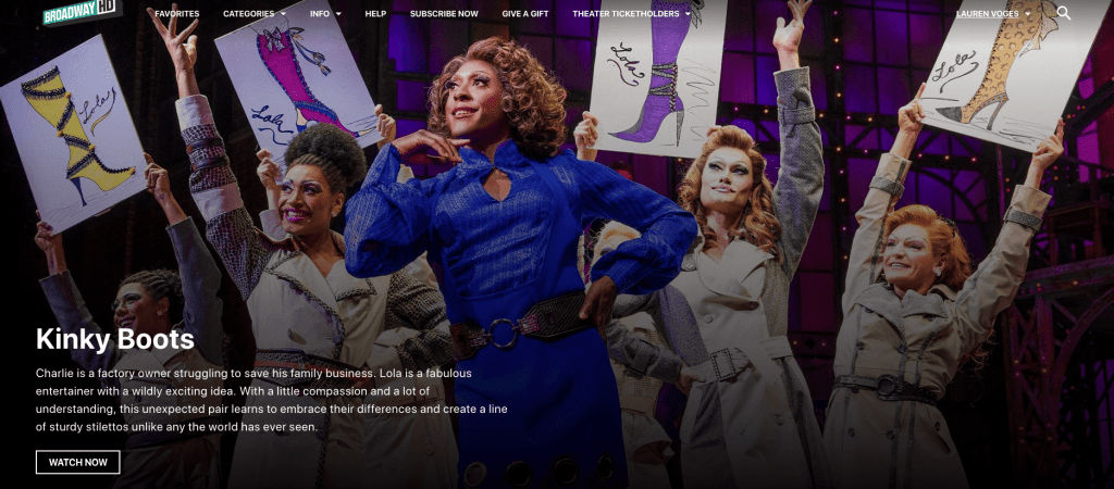 BroadwayHD lets you watch theatre online and plays online.