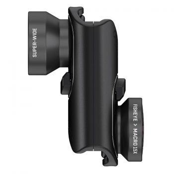Objetivo de 3 lentes: ojo de pez, gran angular y macro